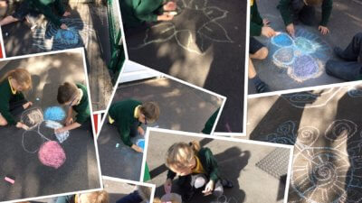 RE and Art- Outdoor chalk Rangoli Patterns in RE and Art to learn about the Hindu festival of Diwali