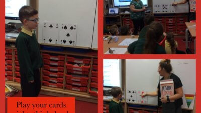 Mathematics – Play your cards right in maths to introduce greater than and less than