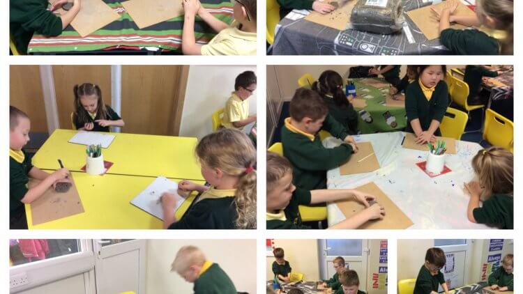 Making clay medals for our animal heroes